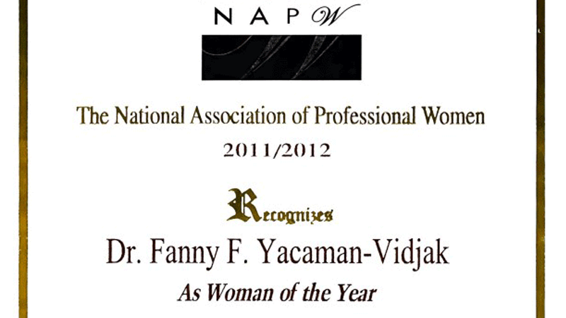 Dr. Yacman as Woman of the year